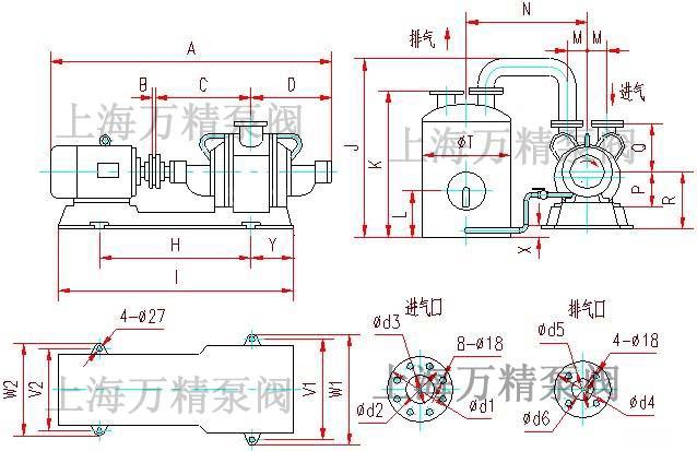 sz系列水环式真空泵安装尺寸; sz系列水环式真空泵及压缩机--; sz系列